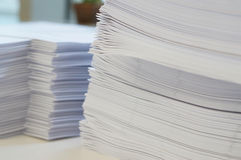 Pile of white papers sheet at office royalty free stock photography