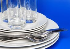 Pile of white plates Royalty Free Stock Images