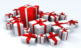 Pile of white presents. Red gift box with white ribbon in the middle of a pile of white presents vector illustration
