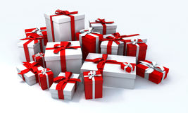Pile of white presents and a r. White gift box with red ribbon in the middle of a pile of white gift boxes vector illustration