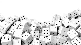 Pile of white random dices with copy-space Royalty Free Stock Photo