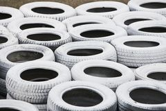 Pile of white recycled tires Royalty Free Stock Images