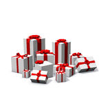 Pile of white and red presents Royalty Free Stock Photography