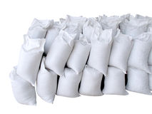 Pile of white sacks full with sand and rock Royalty Free Stock Image
