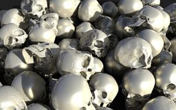 Pile of white and silver glossy skulls. 3d iIlustration, 3d Render, Halloween Holiday Stock Images