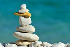 Pile of white stones on the beach Royalty Free Stock Photography