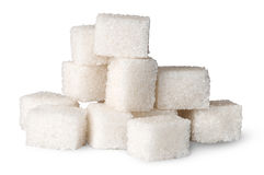 Pile of white sugar cubes Stock Photo