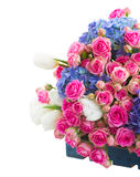 Pile of white tulips, pink roses and blue hortensia flowers Royalty Free Stock Photography