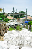 Pile of whitewashed tiles for oyster culture Royalty Free Stock Images