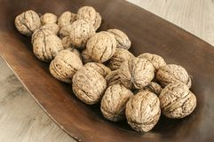 Walnuts in shell closeup Royalty Free Stock Images