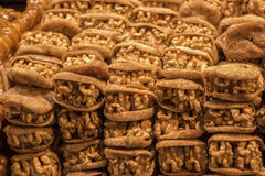Pile of whole walnuts  without nutshells in fig Stock Photos