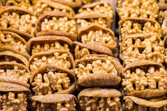 Pile of whole walnuts  without nutshells in fig Royalty Free Stock Photo