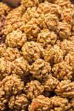 Pile of whole walnuts  without nutshells Stock Photo