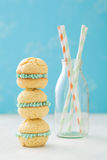 Pile of whoopie cakes with milk bottle Stock Images