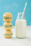 Pile of whoopie cakes with milk bottle Stock Photo