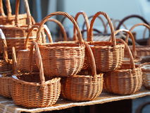 Pile of wicker baskets Royalty Free Stock Photo