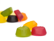 A pile of wine gums. On a white background Royalty Free Stock Photos