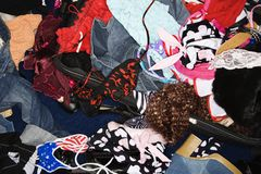 Pile of women's clothes. Stock Photo
