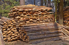 Pile of wood. At a lumber mill Stock Photography