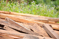 Pile wood. From abandon construction Royalty Free Stock Image