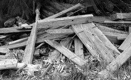 Pile of Wood in Black and White stock photography
