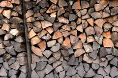 A pile of wood in the cabin storage Royalty Free Stock Image