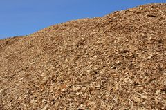 Pile of Wood Chips against Blue Sky Stock Images
