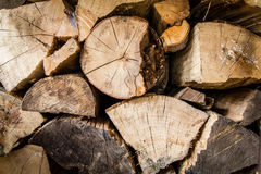 Pile of wood close-up. A pile of irregularly stacked pieces of firewood Stock Photo
