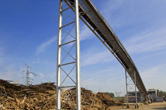 Wood and biomass plant. Pile of wood for combustion in a biomass boiler stock image
