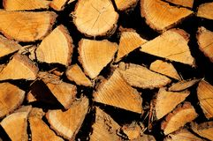 Pile of wood cut for fireplace stock photo