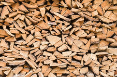 Pile of wood cuttings closeup Royalty Free Stock Images
