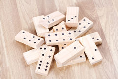 Pile of wood domino Stock Image