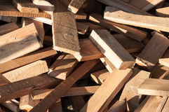 Pile of wood logs for build Furniture production,sew natural wood scraps Stock Photo