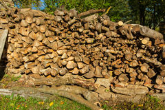 Pile of wood logs in the garden Stock Photos