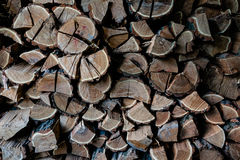 Pile of wood. Logs ready for winter Stock Photo