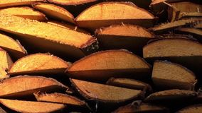 Pile of wood logs ready for winter stock video footage