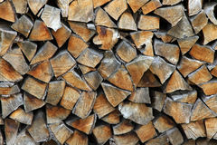 Pile of wood logs ready for winter. Landscape exterior Stock Images