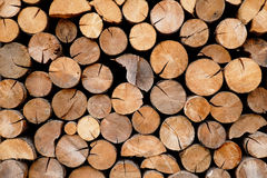 Pile of wood logs storage.  Royalty Free Stock Photography