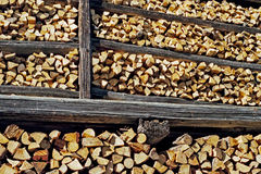 Pile of wood with logs. And wooden stanchions, Eastern Tyrol, Austria Royalty Free Stock Photography