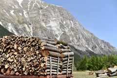 Pile of wood - Monte Sibillini stock photo