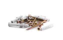 Pile of Wood Screws on white background Royalty Free Stock Photography