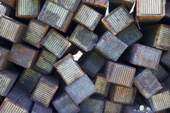A pile of wood sleepers Royalty Free Stock Photography