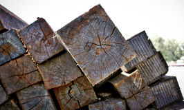 A pile of wood sleepers up close Stock Photography