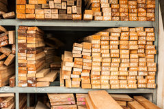 Pile of Wood Stored in stock Royalty Free Stock Photo
