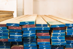 Pile of Wood Stored in stock Stock Photography