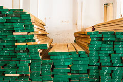 Pile of Wood Stored in stock Royalty Free Stock Photos