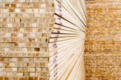 Pile of Wood Stored in stock Royalty Free Stock Image