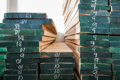 Pile of Wood Stored in stock Stock Images