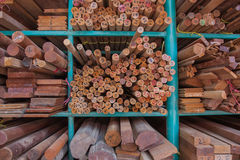 Pile of wood stored in stock. Royalty Free Stock Photos