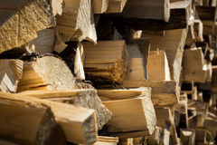 Pile of wood. In a sunny day stock photos